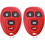 KeylessOption Keyless Entry Remote Control Car Key Fob Replacement for 15252034 -Red (Pack of 2)