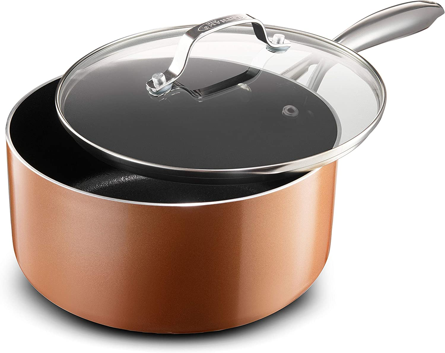 Gotham Steel Copper Cast 2.5 Quart Saucepan with Ultra Nonstick & Durable Mineral Derived & Diamond Reinforced Surface, Stay Cool Handles & Tempered Glass Lid, Oven & Dishwasher Safe, 100% PFOA Free