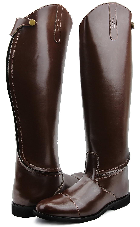 HisparメンズMan StirlingドレスDressage Boots with Zipper英語Horse Riding ブラウン 12 2Plus Calf