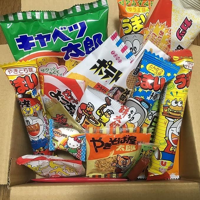 Dagashi Box Snacks japoneses 23pcs Umaibo Candy Gumi papas fritas chocolate con Akiba-King etiqueta: Amazon.es: Alimentación y bebidas