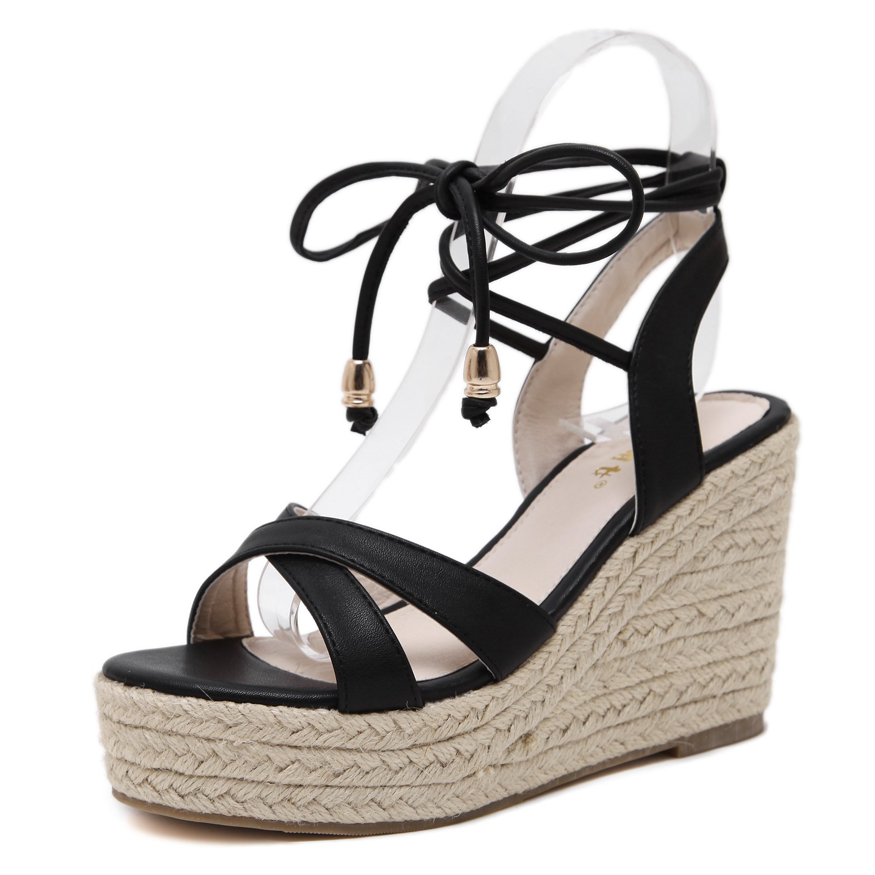 MAKEGSI Womens Jute-Rope Middle Wedge Heel Summer Shoes Flip Sandals Lace up (7.5, Black)