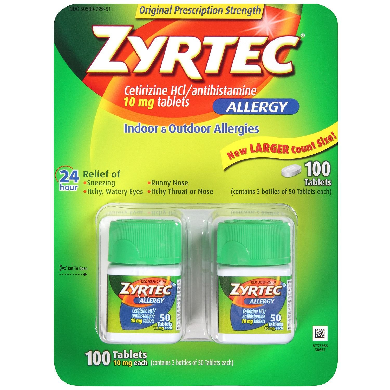Zyrtec Cetrizine HCl/Antihistamine - 10mg/100 tablets
