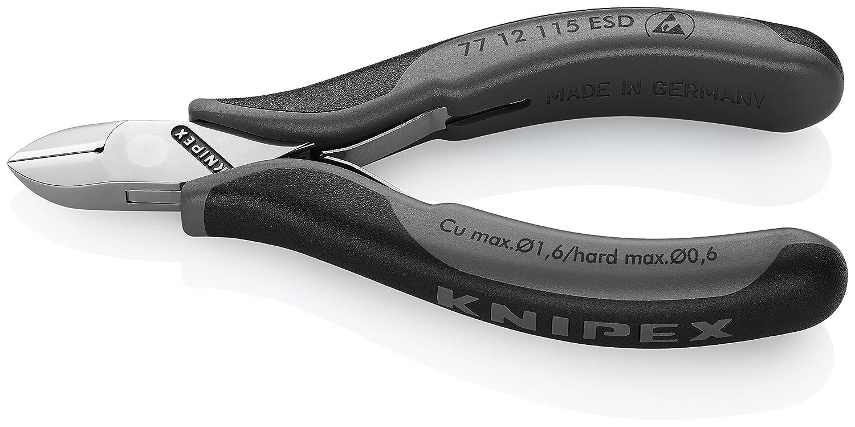 mit Mehrkomponenten-H/üllen, 115 mm Knipex 77 12 115 ESD Elektronik-Seitenschneider ESD