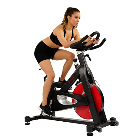 Sunny Health Fitness Evolution Pro Magnetic Belt Drive Indoor Cycling Bike, High Weight Capacity, Heavy Duty Flywheel – SF-B1714