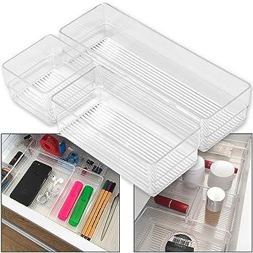 Hausfelder ORDNUNGSLIEBE Schubladen Organizer (3-teiliges Set)  Ordnungssystem zur Aufbewahrung für Küche Büro Schminktisch Kosmetik,  variabel und ...