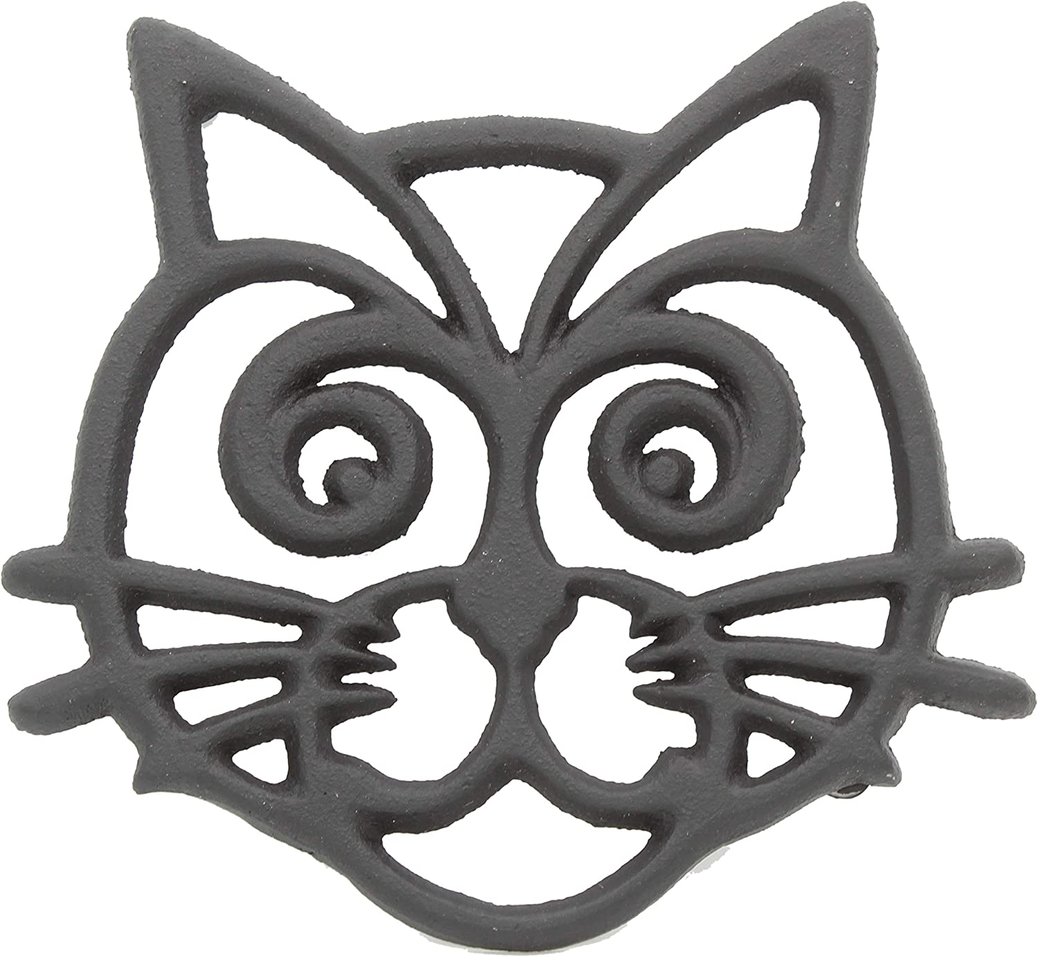 Cast Iron Cat Face Trivet | Decorative Pot Pan Trivet For Kitchen Counter or Dining Table Vintage Design Trivets | Use For Teapot Casseroles Slow Cooker Crock Pot | With Rubber Feet Recycled Metal