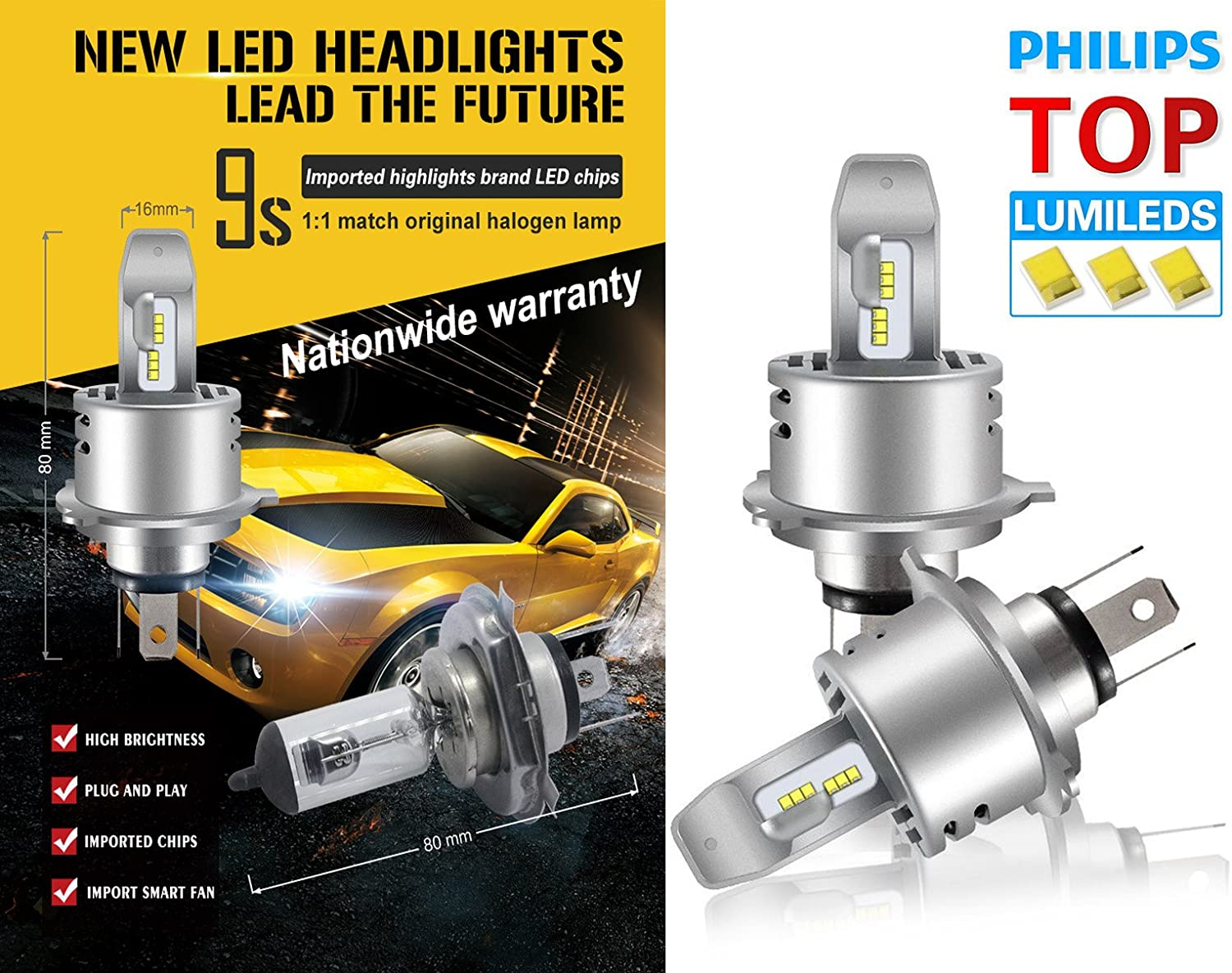 12000LM Lumileds Chips Extremely Bright 6500K All-in-One Anti-Flicker Conversion Kit Halogen Bulbs Replacement 2 Years Warranty H1 Led Headlight Bulb Cool White