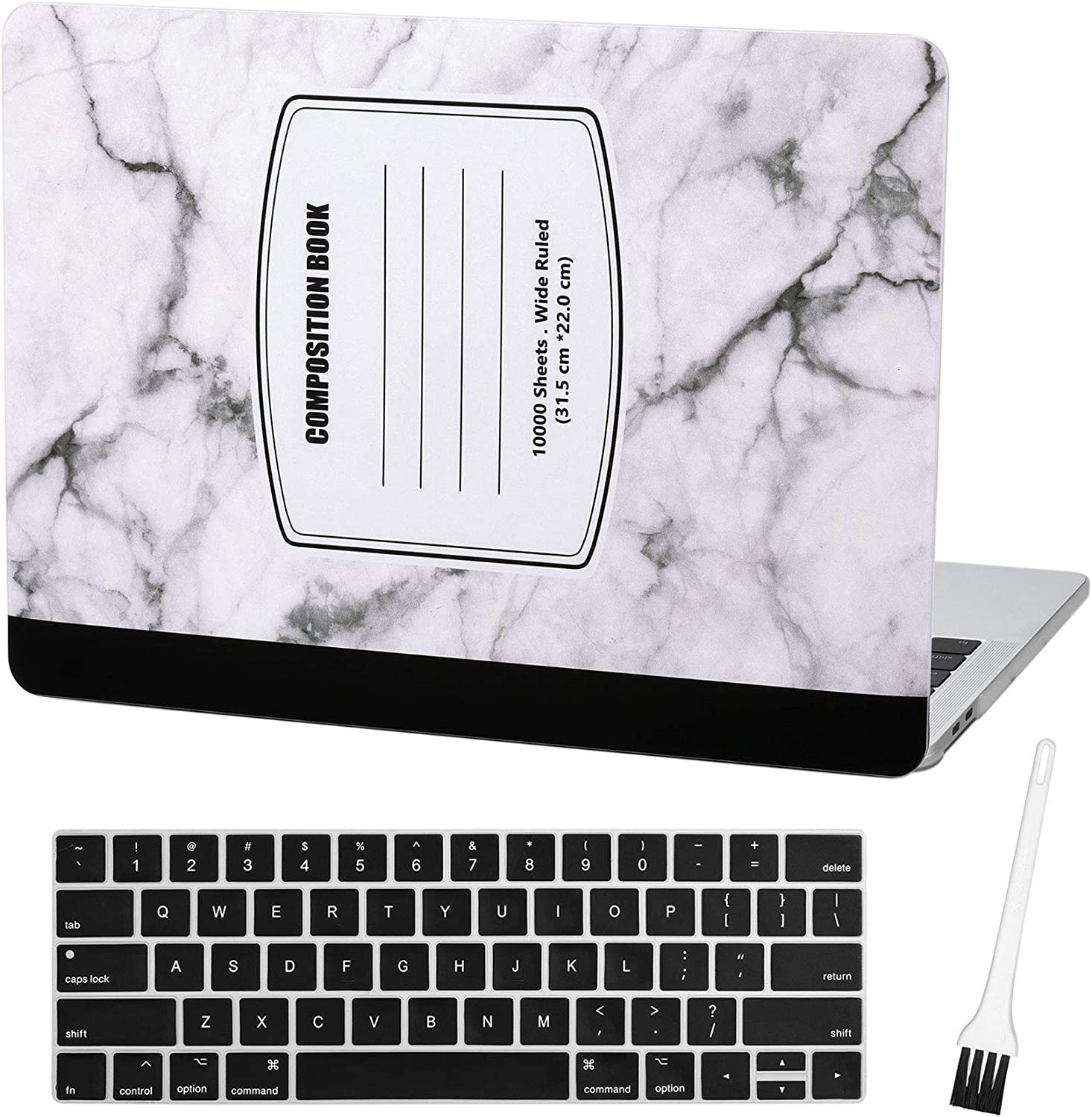 Case Star MacBook Pro 13 Inch Case 2019 2018 2017 2016 Release A1706 A1708 A1989 A2159 Ultra Thin Plastic Hard Sleeve Cover & Keyboard Cover & Dust Brush (Marble Notebook-White)