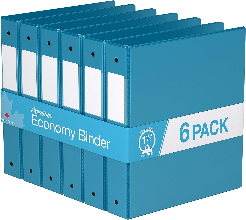 "Premium Economy, Round Ring, Binder, 6 Pack (1.5"", Turquoise Blue)"