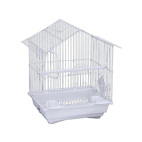 Jaula para pájaros en acero blanco + mangeoires columpio cajón ...
