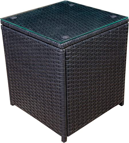 Mcombo Outdoor Patio Rattan Wicker Sofa Black Side Table Garden Sectional Set
