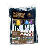 "Holiday Joy - 50 Easy Push Deluxe Light Lawn Stakes for Holiday String Lights on Yards, Driveways & Pathways - 10"" Tall - New and Improved Model"