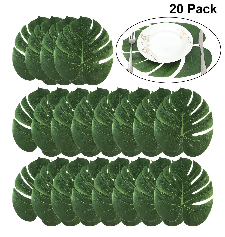 BigLion 20 Pack Artificiale Foglie di Palma Tropicali Pianta Foglie Hawaiian Giungla Spiaggia Luau Partito a Tema Decorazione da Tavola de Partito 35x29 cm