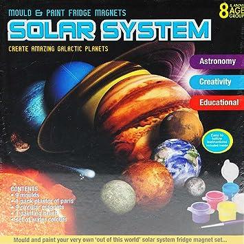 Childrens Kids Solar System Planet Fridge Magnet Mould Water Colour Paint Set Astronomy Education Plaster Of