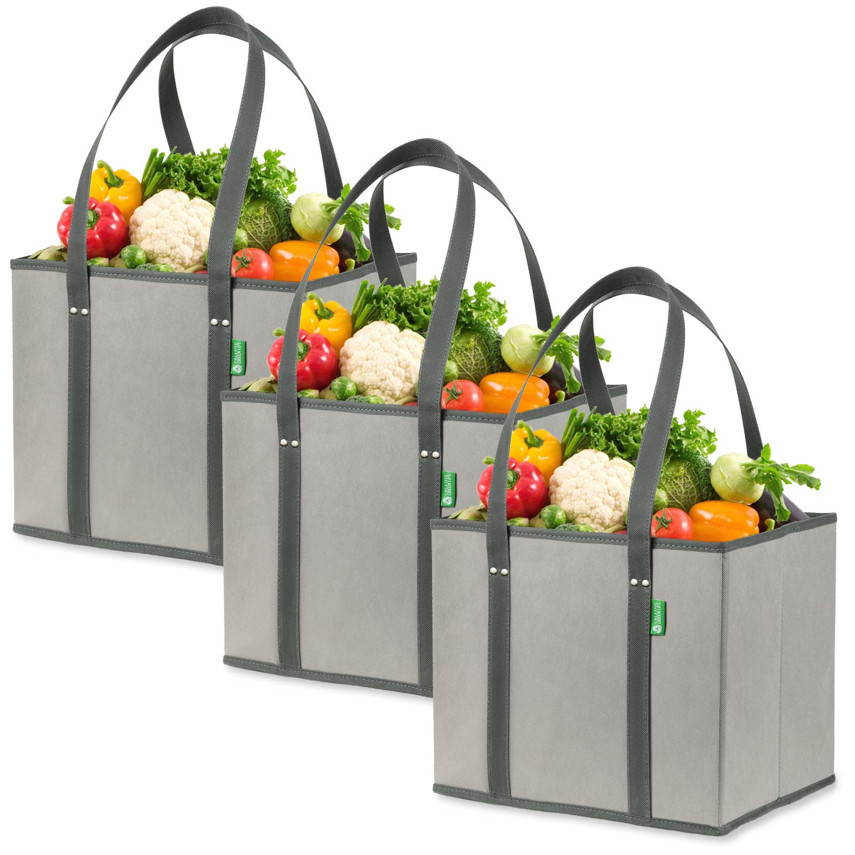 Reusable Grocery Shopping Box Bags (3 Pack - Gray). Large, Premium Quality Heavy Duty Tote Bag Set with Extra Long Handles & Reinforced Bottom. Foldable, Collapsible, Durable and Eco Friendly by Creative Green Life