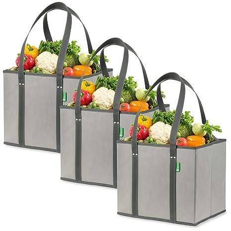 Amazon.com: Bolsas de la compra reutilizables (paquete de 3 ...