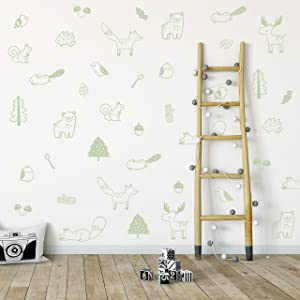 Wall Vinyl Green Forest Animal Decal 36 pcs. Nursery Decor, Original Artist Design. Adhesive Animals Sticker for Kids. Baby Nordic Fox, Bear, Moose, Birds, Squirrel, Pine, Leaf Bedroom Decoration.