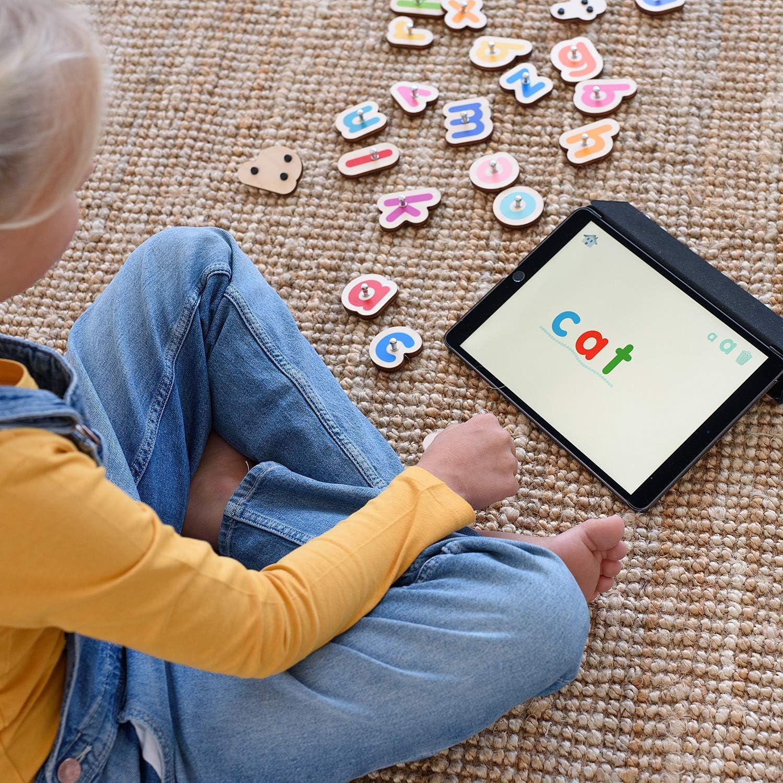 Outil pour Apprendre /à Lire /& /Écrire /à la Maison Lowercase Smart Letters pour iPad Jeux /Éducatifs Manuels pour Enfants De 3 /à 5 Ans Marbotic Set de Lettres Interactives en Bois