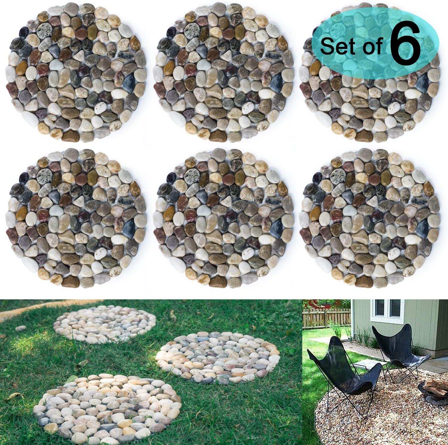 SUNFACE River Rock Stepping Stones Pavers Outdoor for Garden, Set of 6 (Roundness)