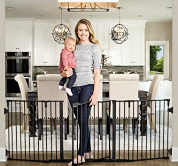 Adjustable Baby Gate 56 Inch Extra Wide Span Walk Through Includes 4 Pack Mounts