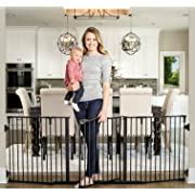 Regalo Deluxe Home Décor 74-Inch Super Wide Metal Configurable Baby Gate, Includes 4 Pack of Wall Mounts