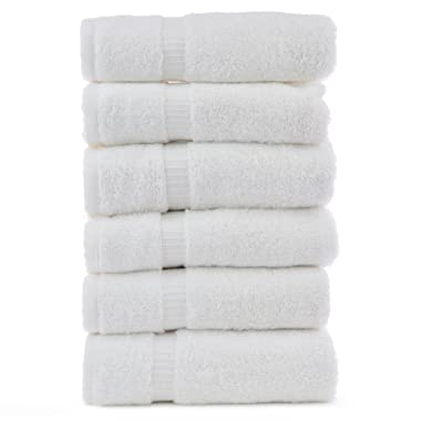 Luxury Hotel & Spa Towel Turkish Cotton (White, Hand Towel - Set of 6)