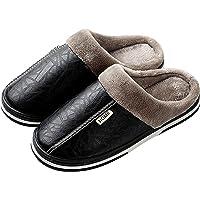 Zapatillas de Estar por casa para Mujer Impermeables de PU Pantuflas Térmicos de Invierno Suave Algodón Casa Zapatos…