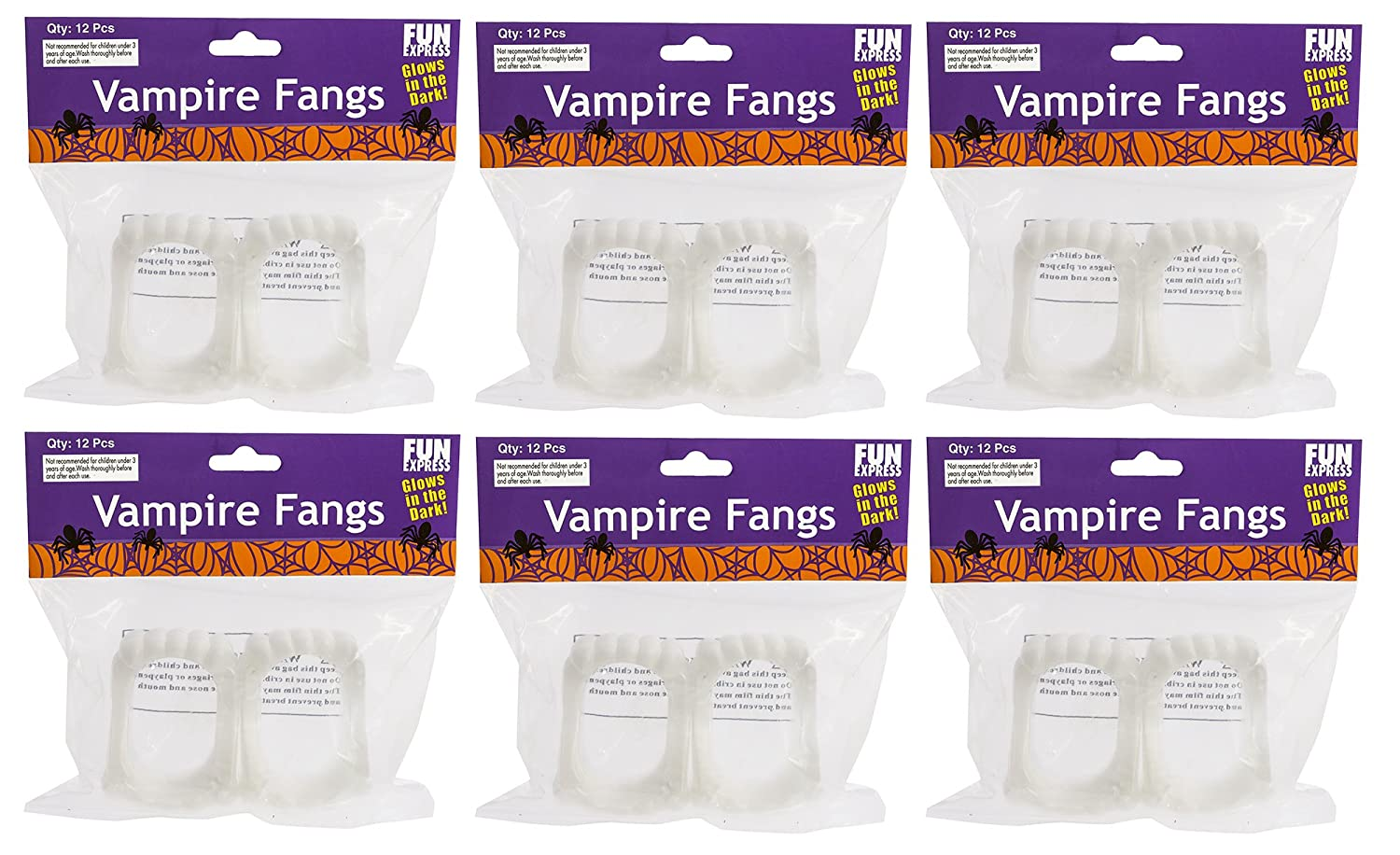 Fun Express - Glow-in-the-Dark Vampire Fangs, (1-Pack of 72) IN-39-402