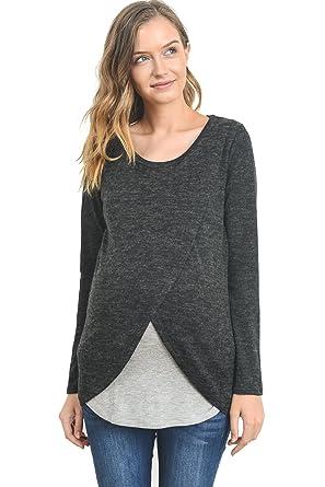 d886fbb3d08e9 Hello MIZ Women's Maternity Sweater Nursing Top - Made in USA (Small, Black/