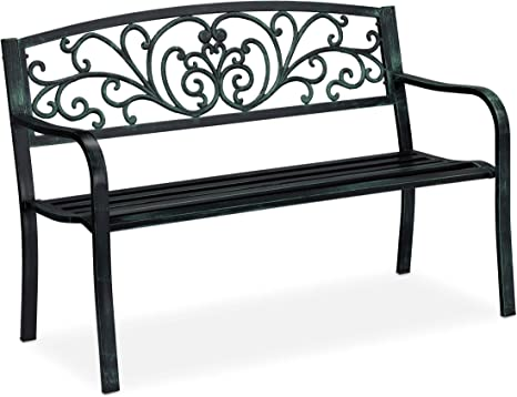 Balcone Nero//Oro Stile Antico 81x127x56 cm Rivestimento Antiruggine Bronzo Relaxdays Panca da Giardino per 2 Persone
