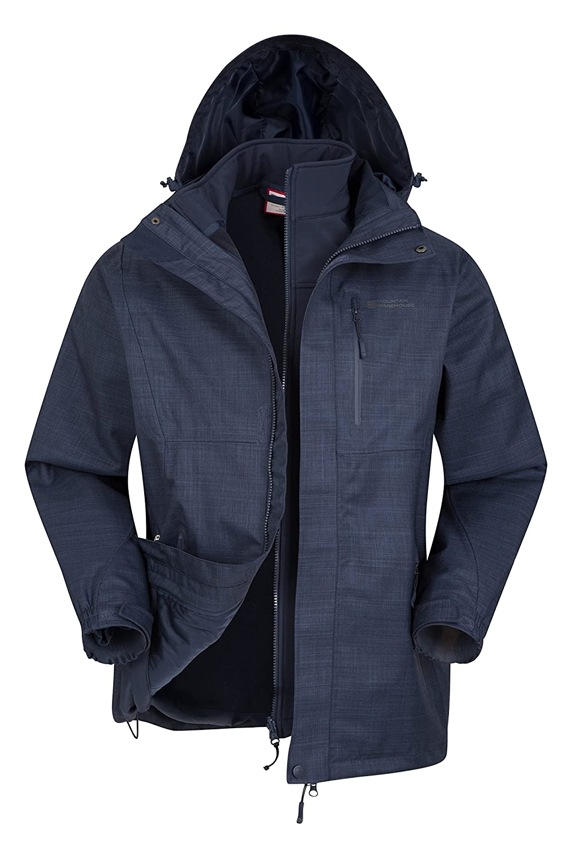Mountain Warehouse Bracken Melierte 3-in-1-Jacke fü r Herren - Leichte Allwetterjacke, versiegelte Nä hte, wasserfester Regenmantel, atmungsaktiv - Fü r kaltes Wetter