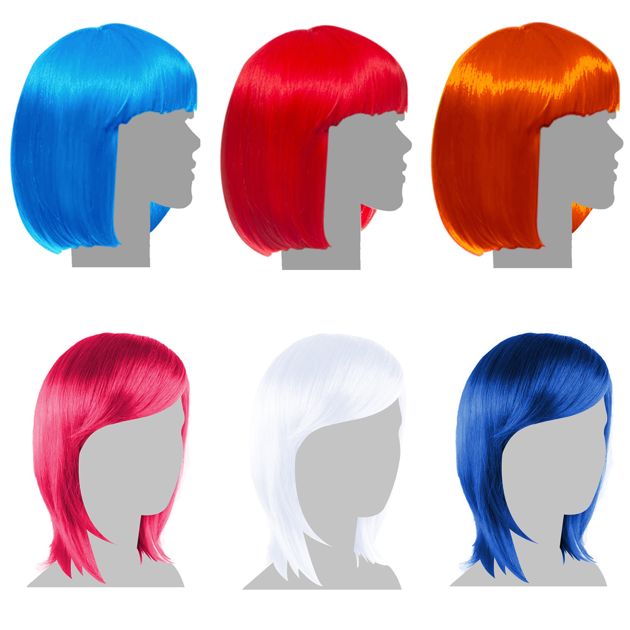 Sterling James Co. 6 Pack Party Wigs - Halloween Neon Colorful Wig Pack - Bachelorette Party Favors, Supplies, and Decorations by Sterling James Co.