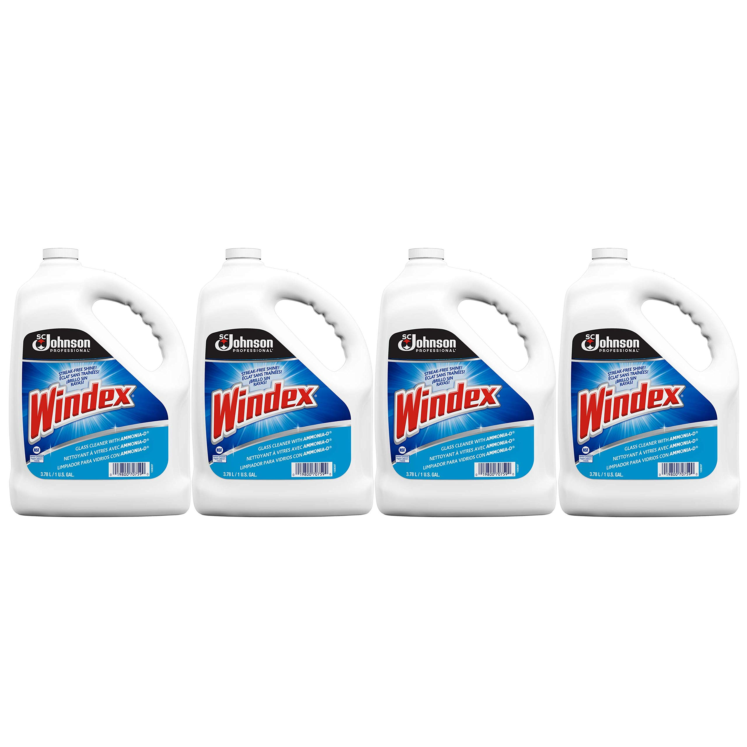 Windex Professional Glass & Surface Cleaner with Ammonia-D, 1 Gallon (Pack of 4) by SC Johnson Professional
