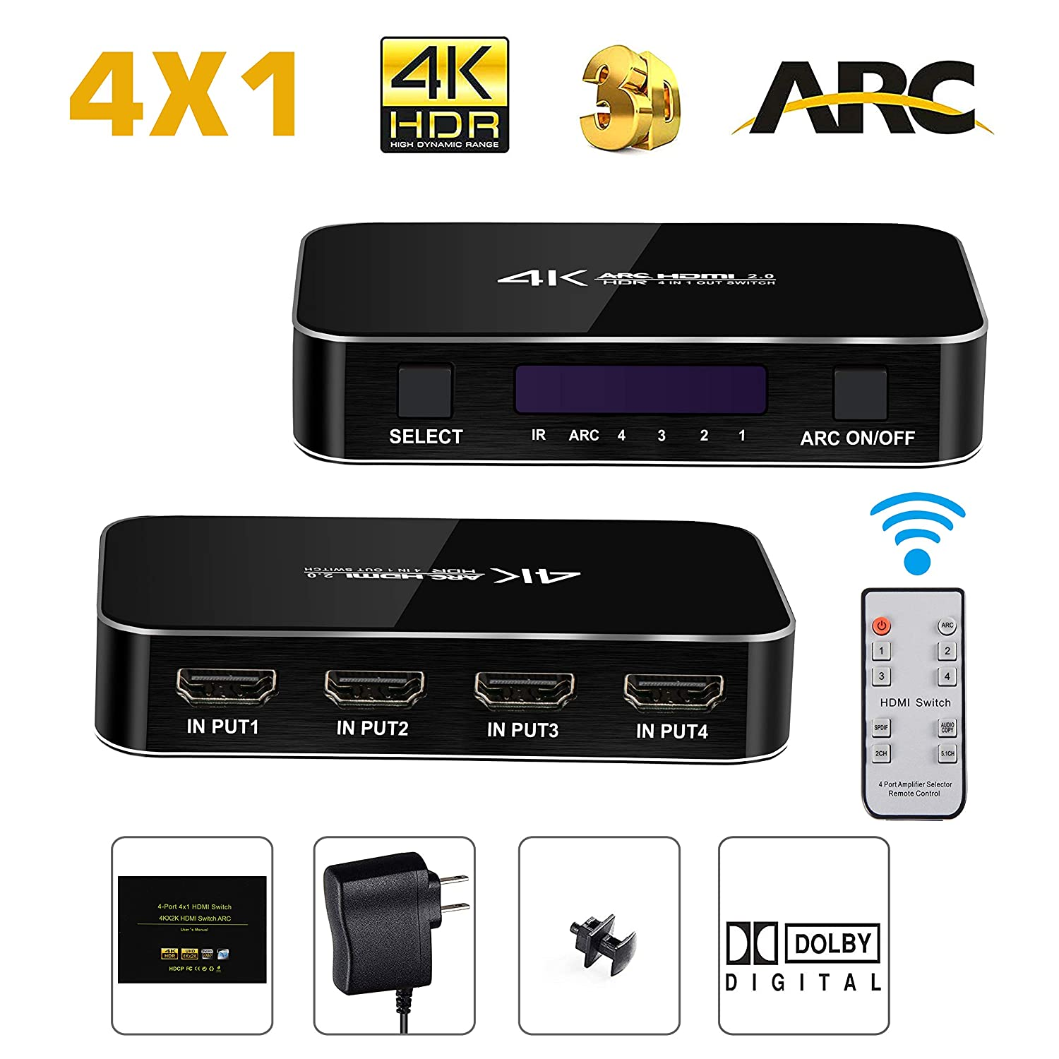 4 Port HDMI Switch with Audio Out, ZAMO 4K@60Hz 4 in 1 Out HDMI Switcher  Selector with IR Wireless Remote Control,Max Bandwidth of 18Gbps, Support