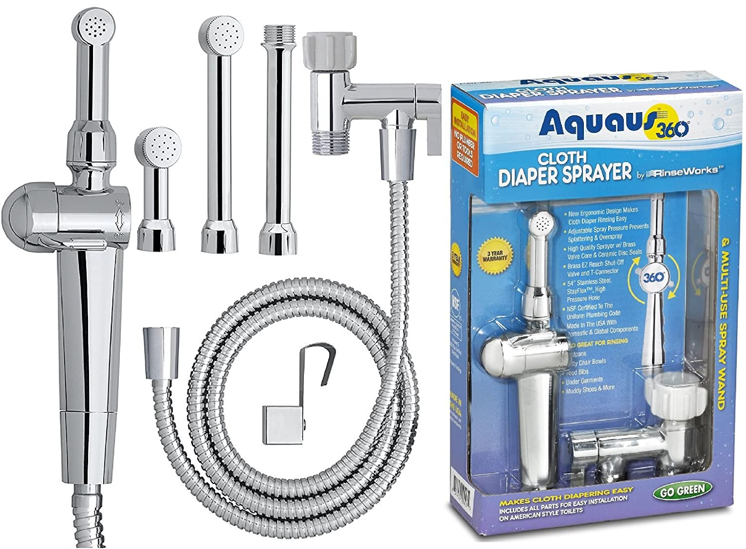 RinseWorks – Patented Aquaus 360 Diaper Sprayer - NSF Certified for Legal Installation - 3 Year Warranty – Dual Spray Pressure Controls – SafeSpray Valve Core, StayFlex Hose ABT-360E