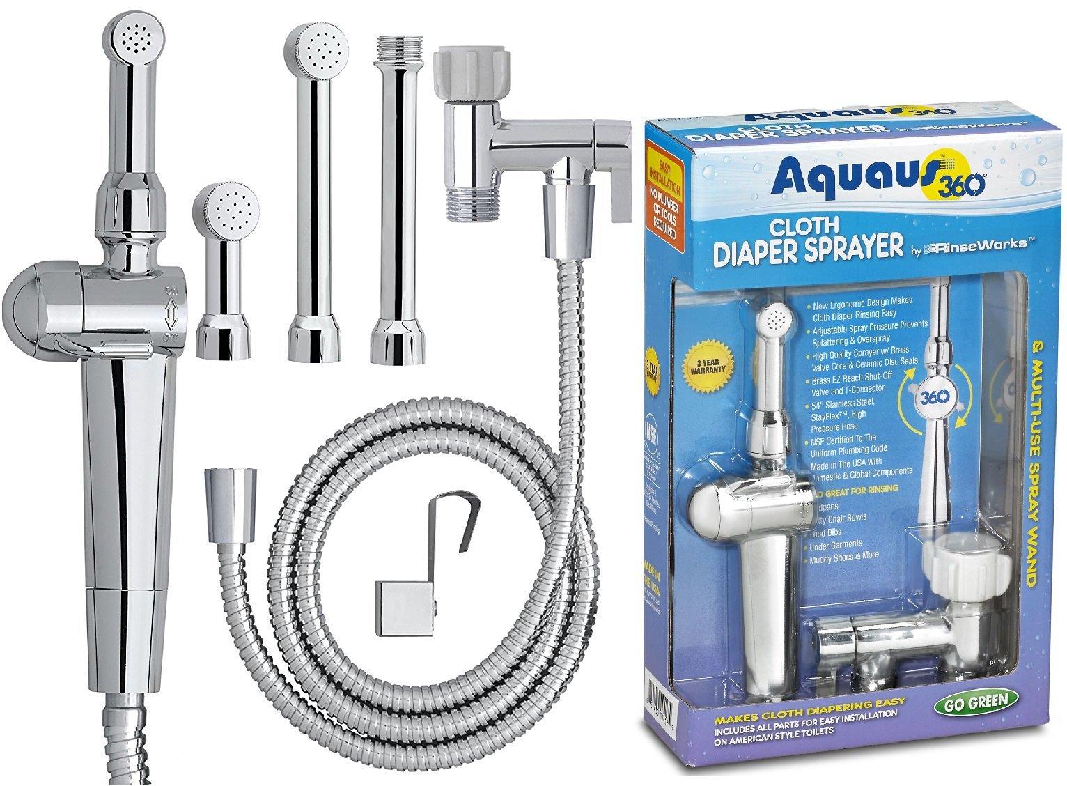 RinseWorks – Patented Aquaus 360 Diaper Sprayer - NSF Certified for Legal Installation - 3 Year Warranty – Dual Spray Pressure Controls – SafeSpray Valve Core, StayFlex Hose
