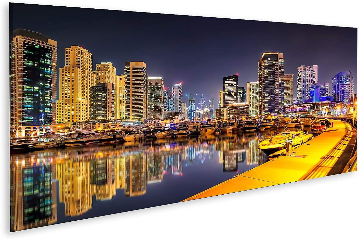 Bild auf Leinwand Unglaubliche Nacht Dubai Marina Skyline Luxusyachtdock Dubai Vereinigte Arabische Emirate Bilder Wandbild Poster Leinwandbild
