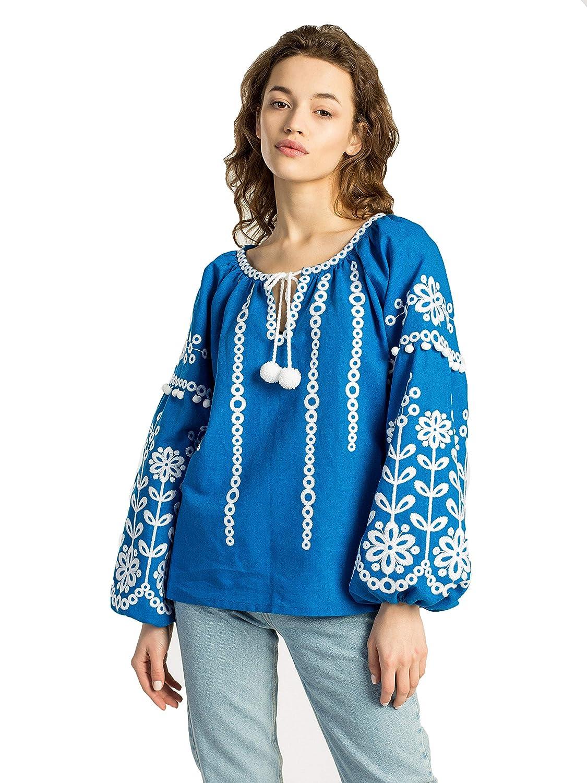 bluee ETNODIM Ukrainian Ethnic Embroidered Linen Shirt Yellow Vyshyvanka Long Sleeve Purple Tops Modern bluee Blouse