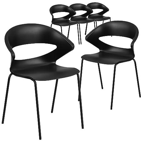 Flash Furniture 5 Pk. HERCULES Series 440 lb. Capacity Black Stack Chair