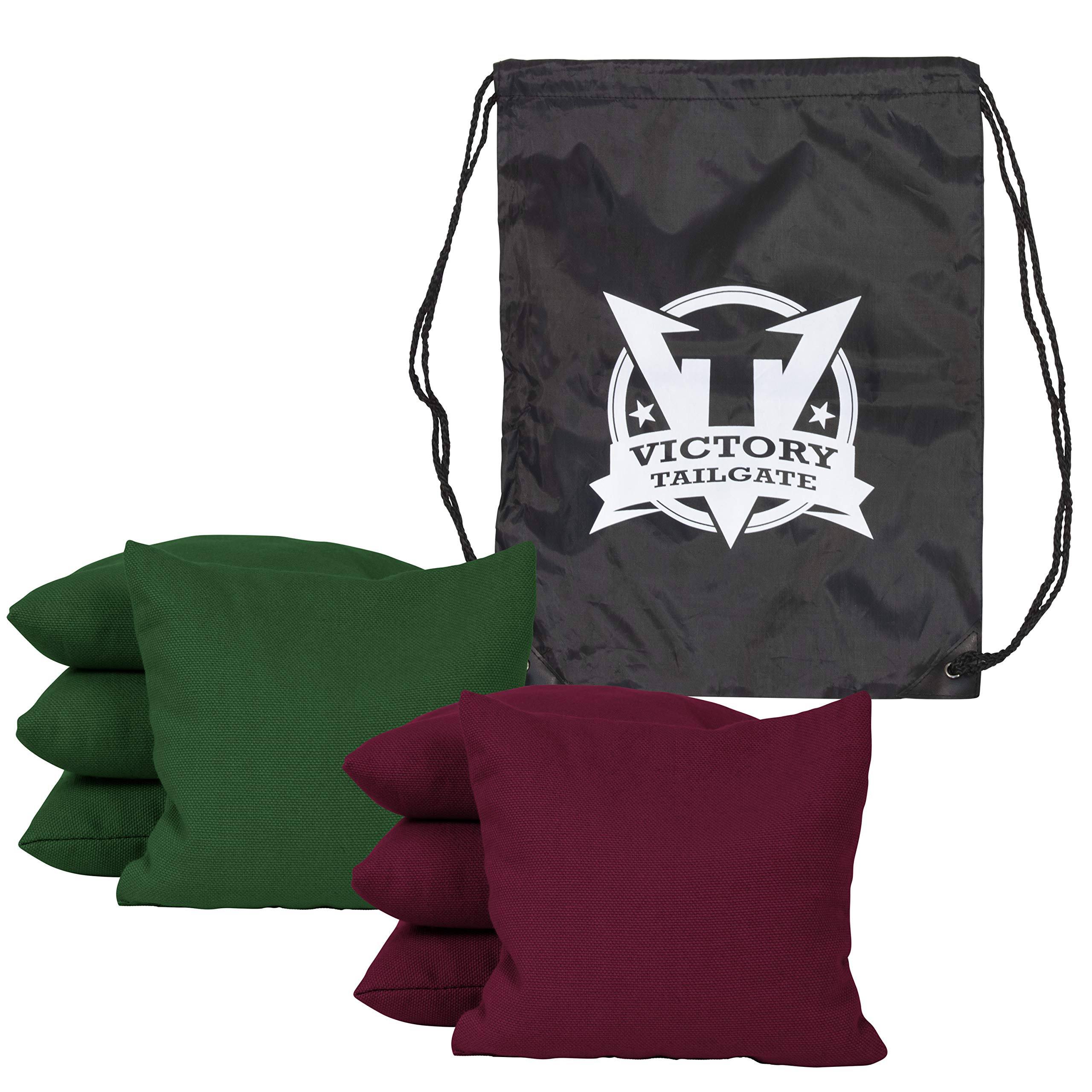Victory Tailgate 8 Colored Corn Filled Regulation Cornhole Bags with Drawstring Pack (4 Burgundy, 4 Hunter Green)