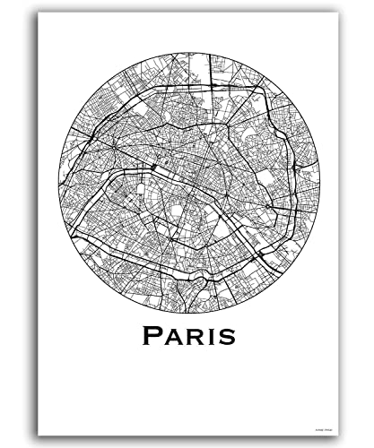Cartel París Francia Minimalista Mapa - City Map, decoración ...