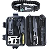 Survival Gear Kit 11 in 1, Professional Outdoor Emergency Survival Tools with Saber Card, Survival Bracelet, Temperature Compass, Powerful Whistle for Camp Hike Earthquake Overseas