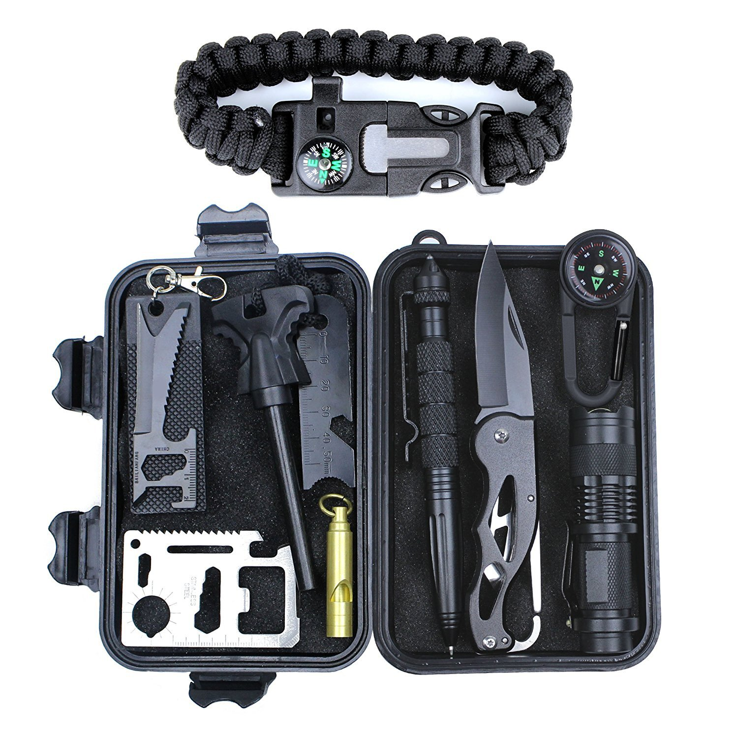 Survival Gear Kit 11 in 1, Professional Outdoor Emergency Survival Tools with Saber Card, Survival Bracelet, Temperature Compass, Powerful Whistle for Camp Hike Earthquake Overseas NBKTE