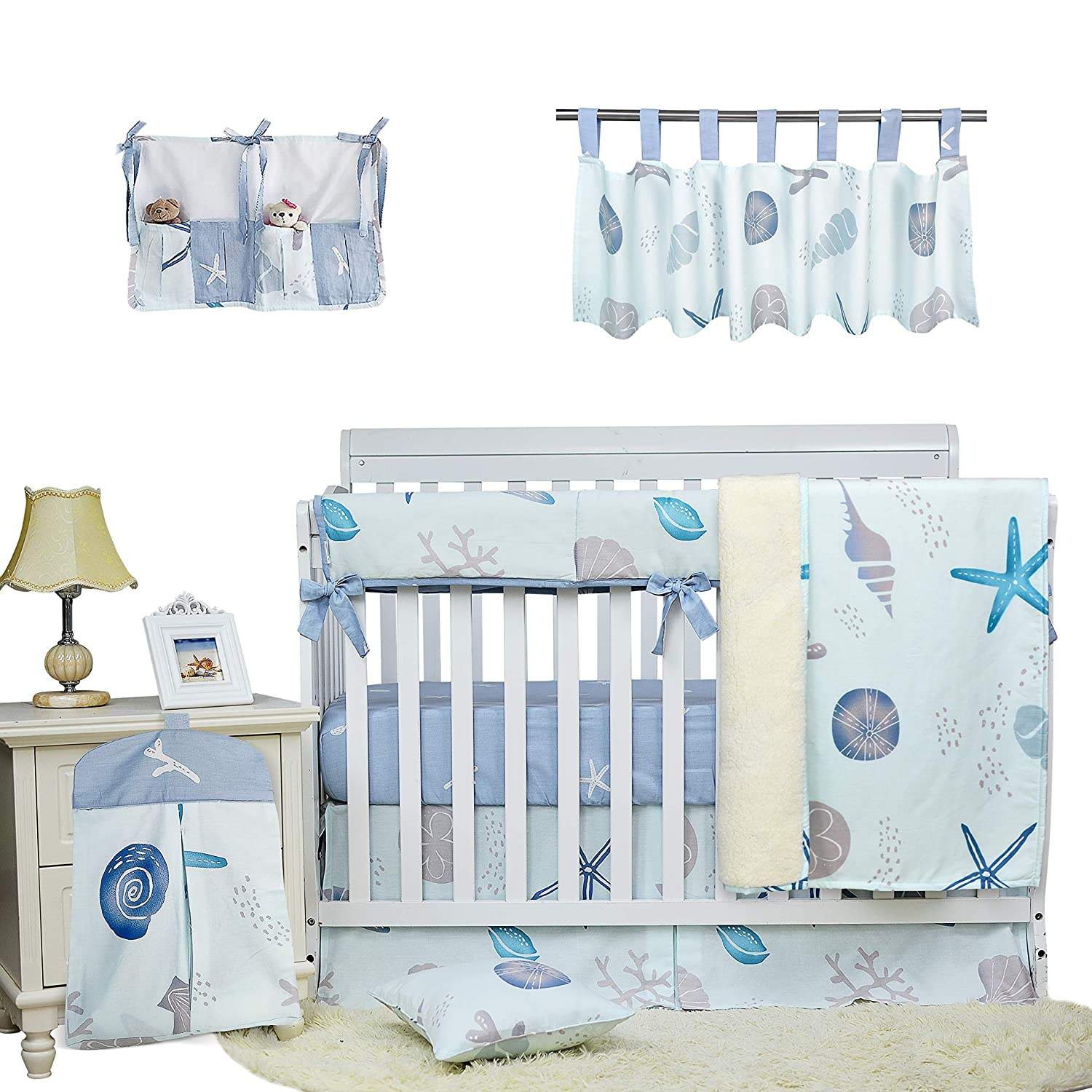 Amazon Com Brandream Baby Boys Crib Bedding Set Blue White Beach Theme Nautical Nursery Bedding With Starfish Seashell 9 Piece Cradle Set With Long Rail Cover 100 Cotton Kitchen Dining