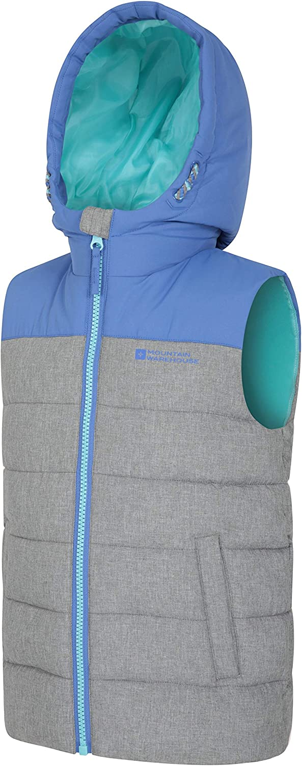 Running Hiking for Winter Cycling Water Resistant Bodywarmer Microfibre Childrens Jacket Mountain Warehouse Rocko Kids Printed Padded Gilet Insulated Vest