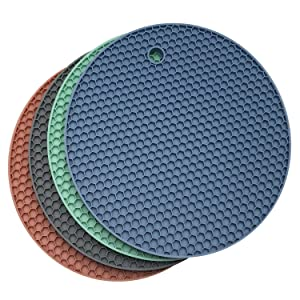 Axe Sickle 4pcs Trivet Mat Multipurpose Silicone Drying Mat,Silicone Pot Holders, Hot Pads,Silicone Heat Resistant Coasters,Cup Insulation Mat,Insulation Pad Potholders,Insulation Non Slip Mat.