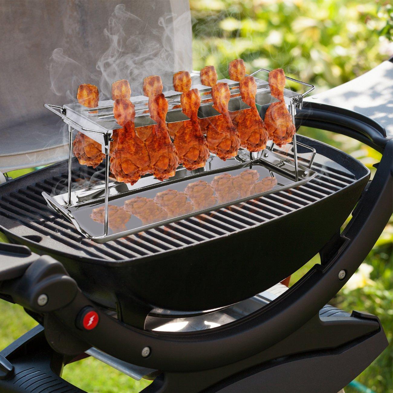 ... Rack 12 ranura - multiusos para patas de pollo o alas - muslo de pollo asador para horno, parrilla de fumador, o, ideal para barbacoas, picnics, etc., ...