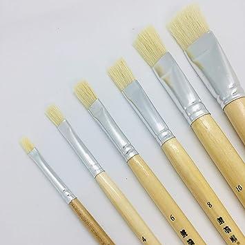 XDT#579 Square Artist Art Paint Brush Hog Bristle 6pc Set Watercolor Acrylic Oil