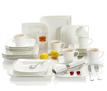 0cf040d789b16 Vepen, 30 pièces Blanc crème Ensemble de vaisselle en porcelaine avec 6  Assiettes à Soupe
