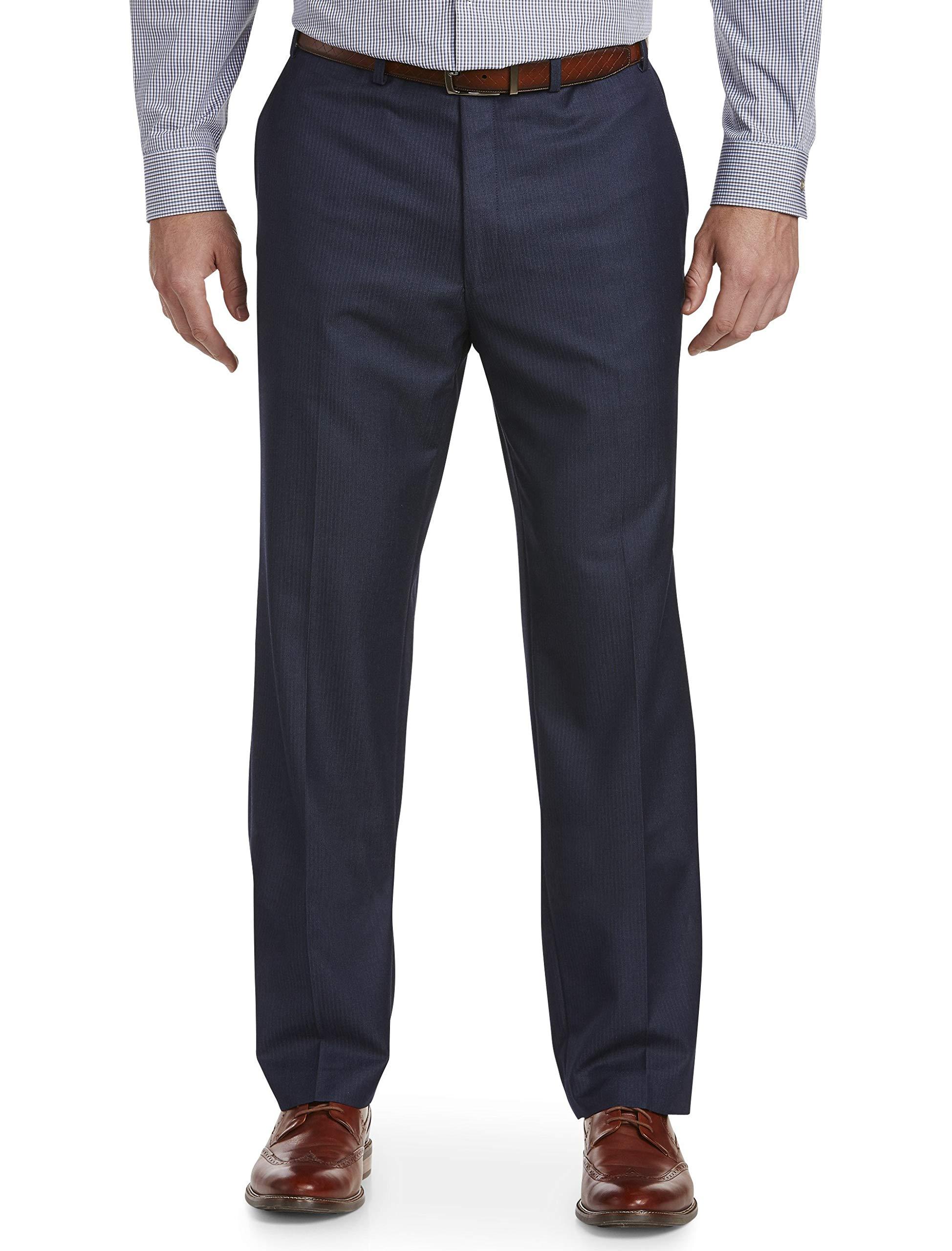 Michael Kors Herringbone Flat-Front Suit Pants Blue by Michael Kors